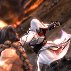 埃齐奥在《灵魂能力V》中与御剑平四郎战斗