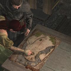 Sofia e Ezio analisando o mapa com a localização de livros raros