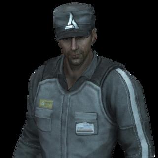 Um guarda de segurança da Abstergo