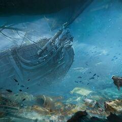 Um mergulhador que procura um naufrágio de tesouro.