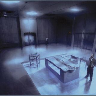 Arte de conceito do quarto do Animus na Abstergo