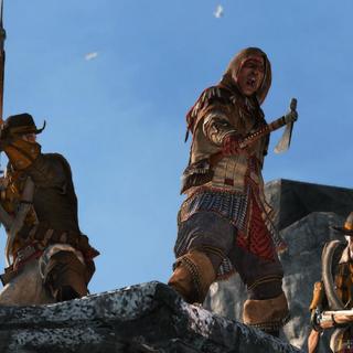Kesegowaase usando o seu tomahawk para dar ordens aos seus soldados.