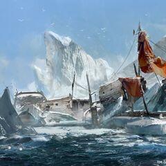 Um naufrágio no Atlântico Norte.