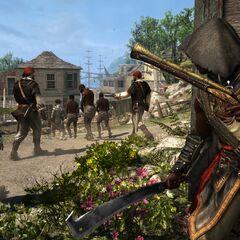 Adéwalé observando um grupo de escravos sendo escoltados por soldados