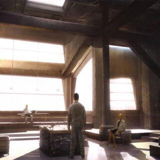 Arte de conceito de outro ângulo do quarto do Animus