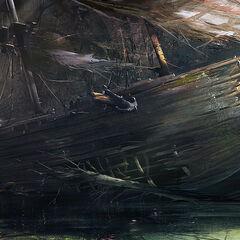 Um naufrágio na baía.