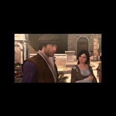 Duccio com um mulher nas docas de Roma