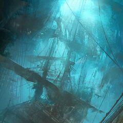 Um navio afundado no Caribe.