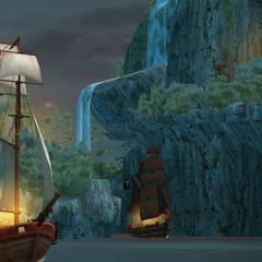 Levasseur atacando o navio de Barnes