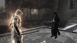 Al Mualim controlando Altaïr