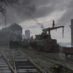 Arte de conceito de uma área industrial