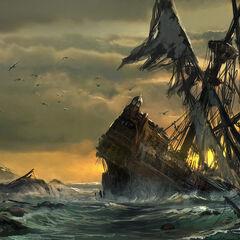 Um naufrágio encalhado no Caribe.