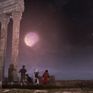 Ezio e Copérnico observando o eclipse