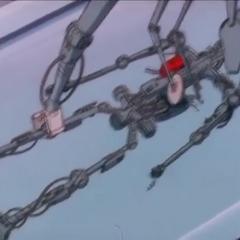 Uran's skeleton in the 1980 series episode Uran the Tomboy.