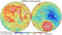 Moon gravity acceleration map LGM2011
