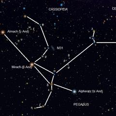 Фігура Андромеди на нічному небі.