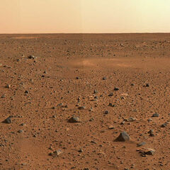 Krater Gusiew, zdjęcie wykonał łazik <a class=