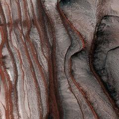 Червоні скелі на Марсі в регіоні Каньйону Північний. Фото 2008 року зроблене <a class=