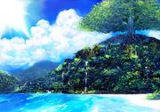Konachan.com - 178639 clouds forest landscape matsumoto noriyuki nobody original scenic sky tree water waterfall