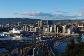 Barcode and Oslo Opera house seen from Ekeberg