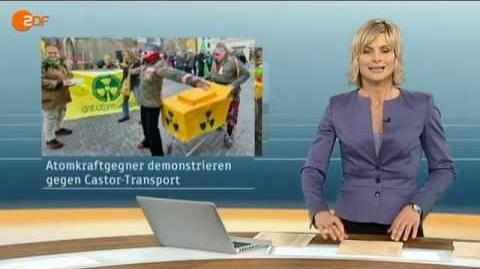 Castor-Transport nach Lubmin Marktplatz Karlsruhe 12.2.2011 ZDF heute