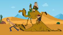 Dwayne cerca di far muovere il cammello