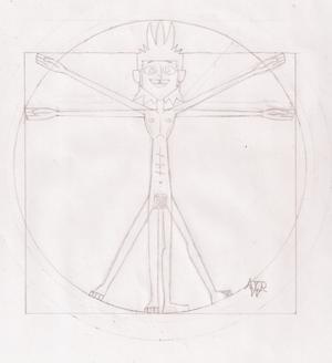 Parodistico; Mike - uomo vitruviano (con firma 1)
