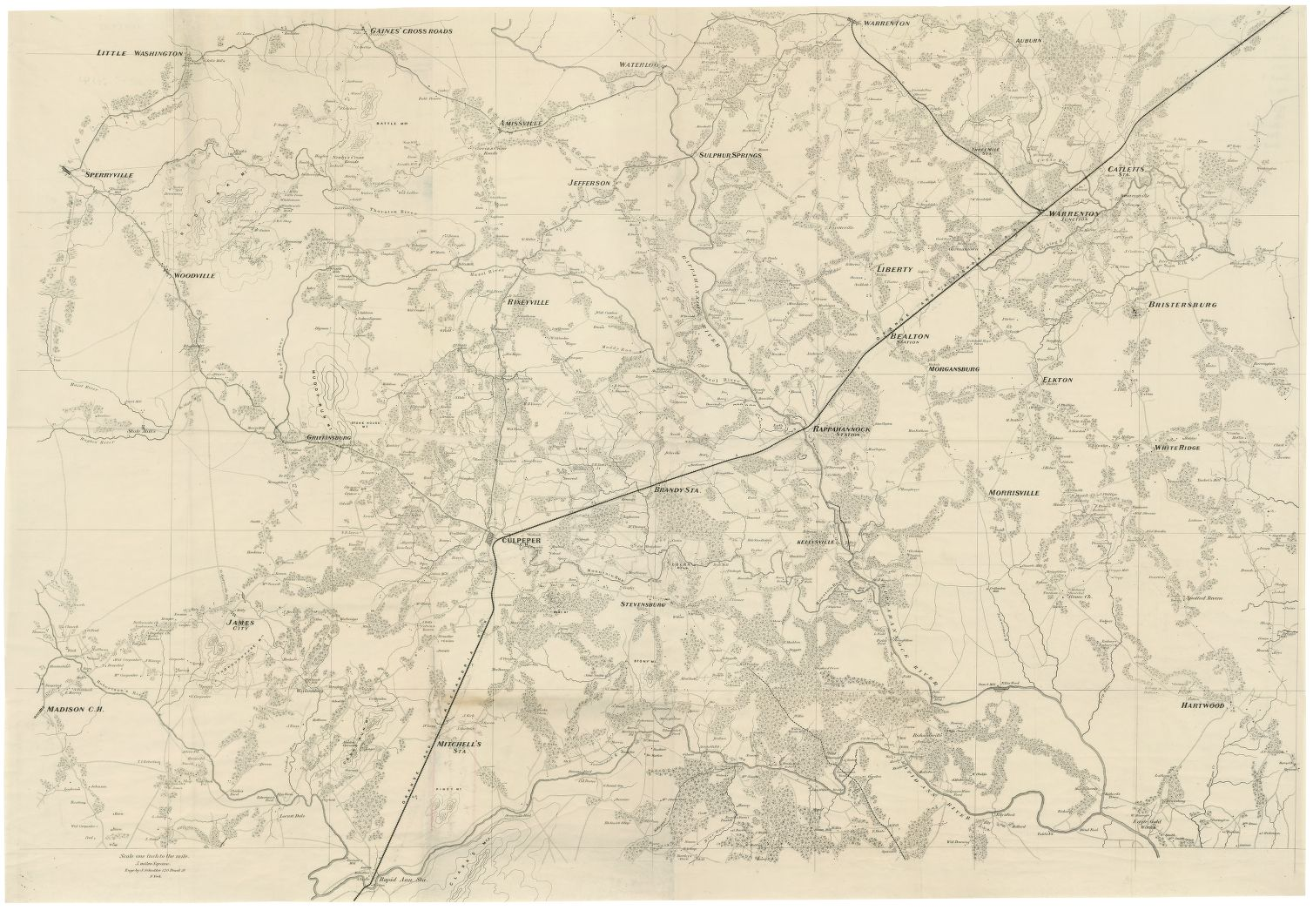 Central Virginia Map.1864 United States Army Corps Of Topographical Engineers Map Of