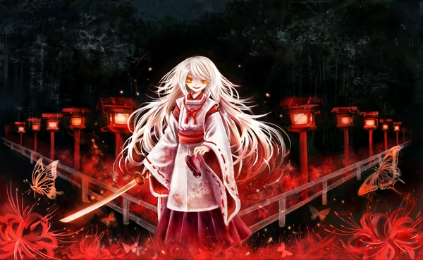 Flowers butterfly long hair weapons yellow eyes white hair shrine maiden outfit japanese clothes ani wallpaperswa.com 67