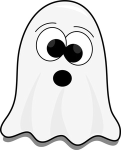 Image  Cute little cartoon ghost on halloween trying to scare
