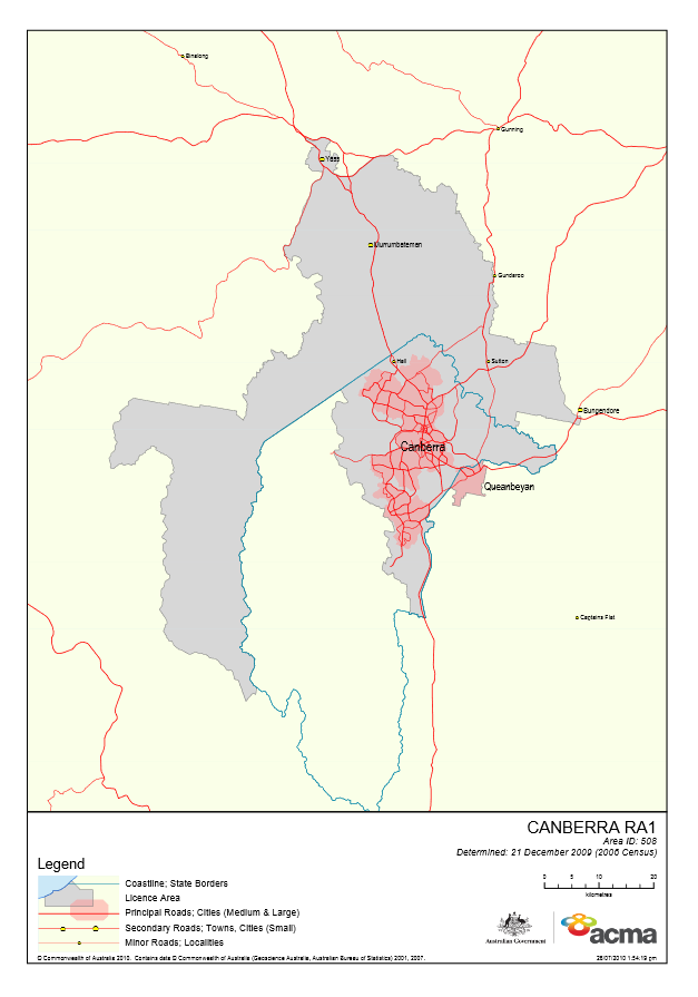 Canberra Licence Area