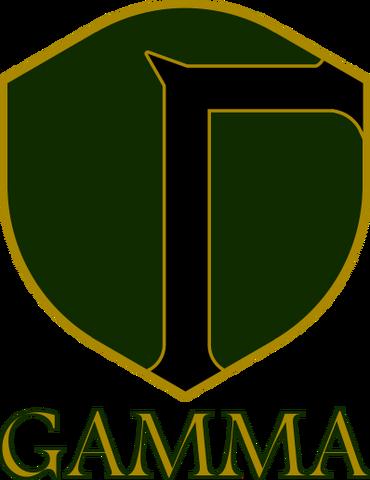 File:Gamma Logo Green Black Gold Name.png