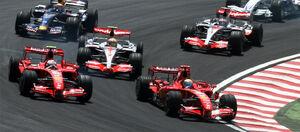 2007 Brazilian GP 4 drivers at start