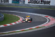 Fernando Alonso on three wheels during 2009 Hungarian Grand Prix