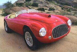 1948 Ferrari 166 MM Touring Barchetta Roadster Red Frt Qtr
