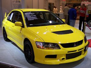 Mitsubishi Lancer Evolution IX yellow vr EMS