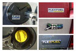 Three US E85 flex fuel badges Ford GM Chrysler copy