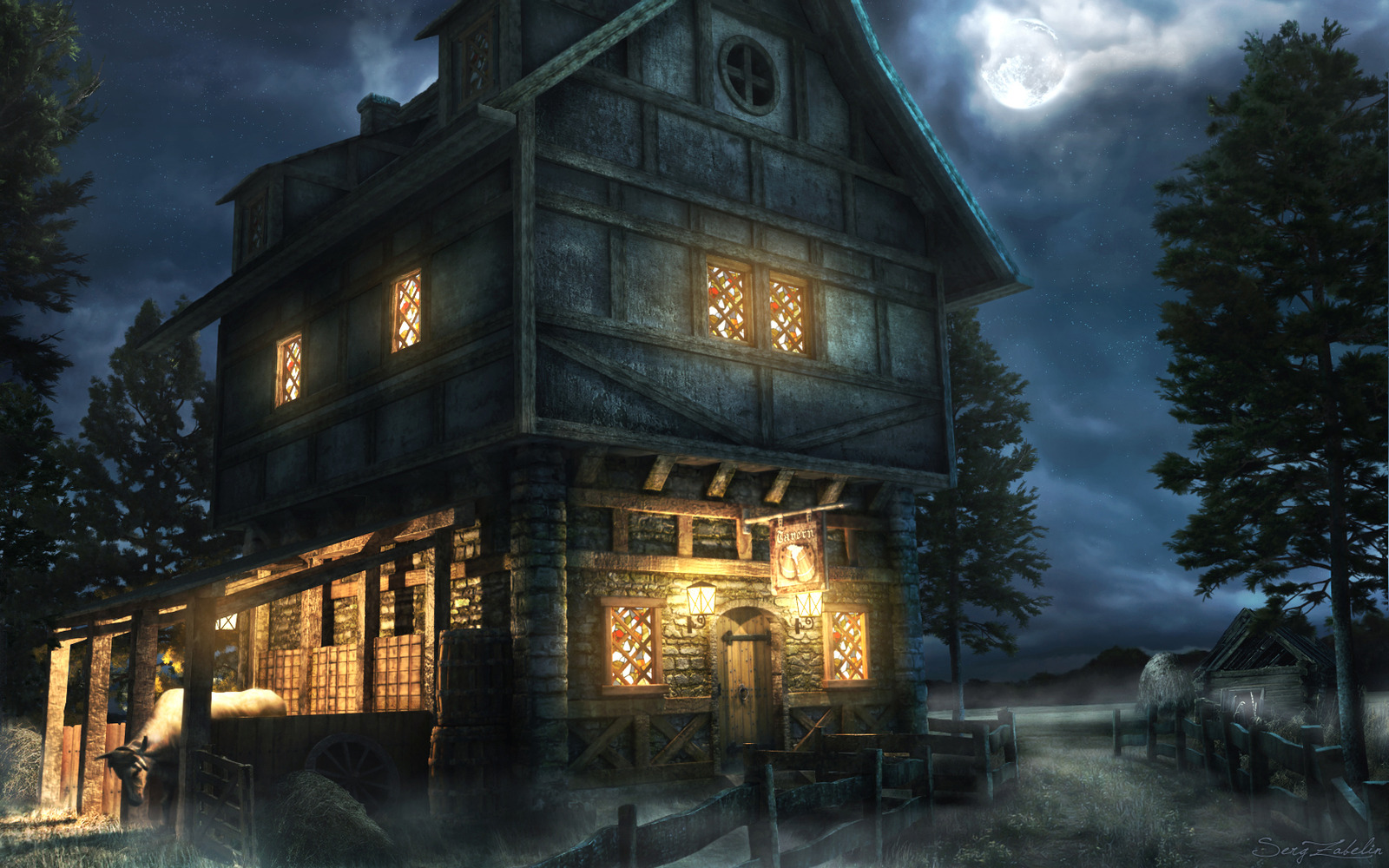 Image result for tavern at night