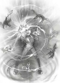 Kara using the Unicorn Jewel