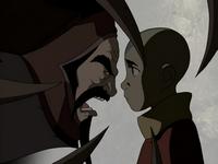 Koh hurle sur Aang