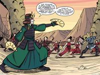 Suki entraîne les villageois de la Nation du Feu