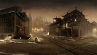 Les rues de la Cité de la République de nuit