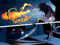 Zuko et Kori se combattant