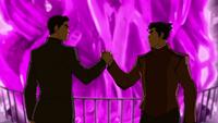 Mako et Bolin se serrent la main