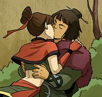 Sneers kissing with Kori