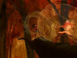 Aang bends air currents