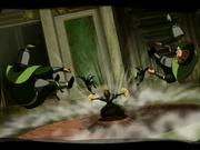 Kyoshi derrota a los guardias del Rey Tierra