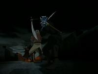 Aang rescatado por el Espíritu Azul