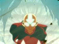 Aang entrando en el Estado Avatar
