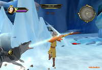 Aang battles wolves